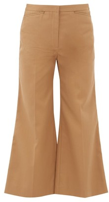 Lemaire High-rise Cropped Kick-flare Twill Trousers - Womens - Tan