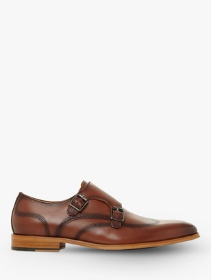 Dune Sandstone Leather Double Strap Monk Shoes, Tan