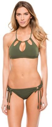 Robin Piccone Women's Ava Cut-Out High Neck Sexy Swimsuit Bikini Top