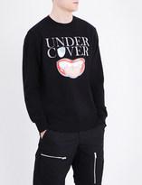 Undercover Logo and lip-print cotton-jersey sweatshirt