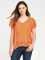 Old Navy Ruffle-Sleeve Crinkle-Gauze Top for Women