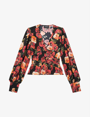 The Kooples Silk floral-print blouse