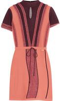 Just Cavalli Fil Coupé-Trimmed Mesh And Stretch-Knit Mini Dress