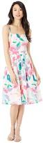 Milly Les Fleurs Cotton Poplin Bo Dress (White Multi) Women's Clothing
