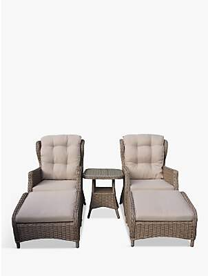 LG Electronics Outdoor Saigon 2 Seat Garden Relaxer Table & Chairs Set, Natural