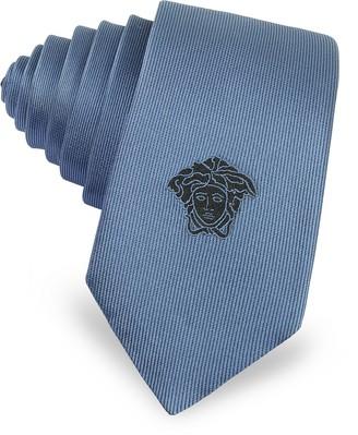 Versace Narrow Two Tone Medusa Logo Twill Silk Tie