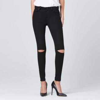 DSTLD Ripped High Waisted Skinny Jeans in Black