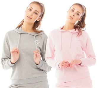 Closure London Womens Signature Two Pack Hoodies Grey/Pink