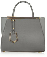 Fendi 2jours Small Textured-leather Shopper - Gray