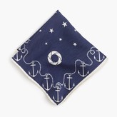 J.Crew Cotton pocket square with anchor border