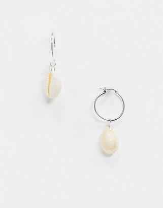 Weekday Sea drop shell hoop earrings in silver
