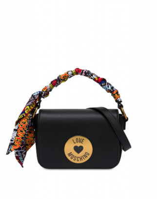 Love Moschino Shoulder Bag With Foulard Woman Black Size U It - (one Size Us)