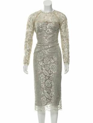 Lela Rose 2018 Metallic Lace Dress Tan