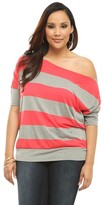 Twist Tees - Red & Grey Striped Off-The-Shoulder Tee