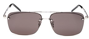 Saint Laurent Unisex Brow Bar Square Rimless Sunglasses, 58mm
