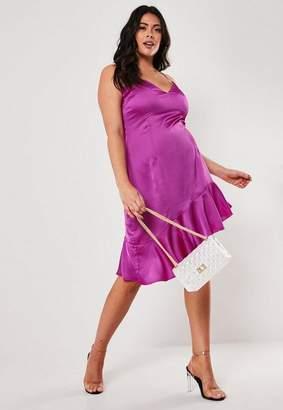 Missguided Plus Size Purple Asymmetric Frill Hem Midi Dress