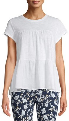 Time and Tru Women's Short Sleeve Tiered T-Shirt