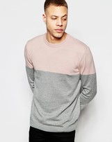 Asos Colour Block Crew Neck Jumper In Cotton