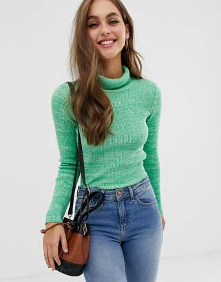 Asos Design DESIGN roll neck skinny rib jumper in twist yarn-Green