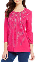 Allison Daley Petite Embellished 3/4 Sleeve Crew-Neck Knit Top