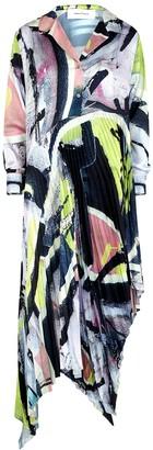Marques Almeida Printed Pleated Satin Shirt Dress