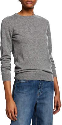 Brunello Cucinelli Crewneck Long-Sleeve Basic Cashmere Sweater w/ Monili Detail