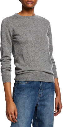 Brunello Cucinelli Crewneck Long-Sleeve Basic Cashmere Sweater w/ Monili Detail