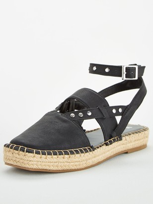 Very Maha Ankle Strap 2 Part Chunky Espadrille - Black
