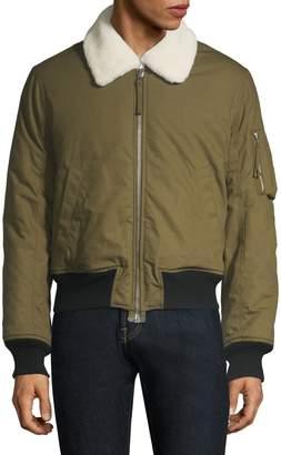 Helmut Lang Shearling-Collar Bomber Jacket