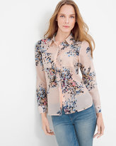 White House Black Market Cotton and Silk-Blend Pink Floral Shirt