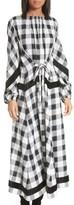 Tibi Women's Boucle Trim Plaid Maxi Dress