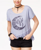 Hybrid Juniors' Gypsy Moon Crochet-Trim T-Shirt