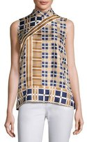 Lafayette 148 New York Fernanda Sleeveless Mock-Neck Plaid Blouse, Multi