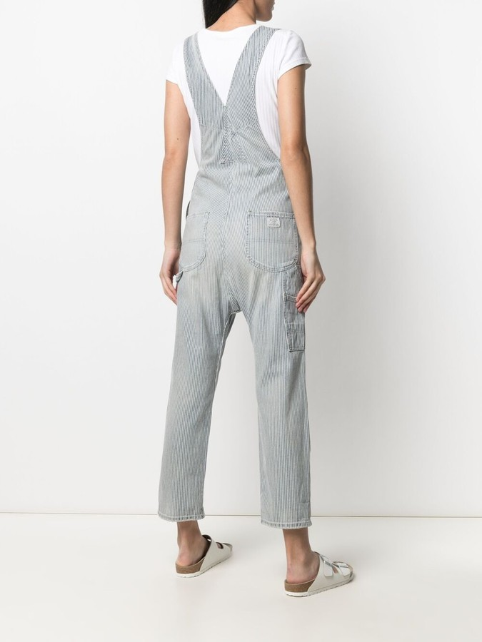 Thumbnail for your product : Denimist Stripe-Print Dungarees