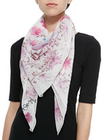 Anna Coroneo Pressed Flower Print Silk Scarf, Rose