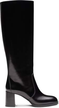 Prada knee-high brushed-leather boots