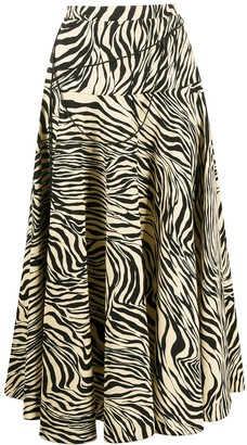 Christopher Kane Zebra-Print Pleated Midi-Skirt