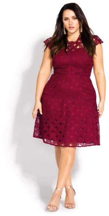 City Chic Lacey Love Dress - cherry