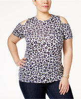MICHAEL Michael Kors Size Cold-Shoulder Animal-Print Top