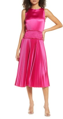 Fraiche by J Pleated Satin Cocktail Dress