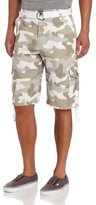 Southpole Men's Belted Ripstop Camo Cargo Shorts with Washing