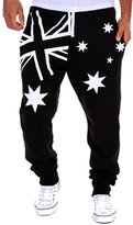 MITIAO Mens Gym Long Sweatpants Flag Printing Design Comfortable Cotton Male Joggers Pants Black Red XL