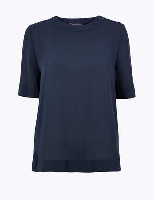 M&S CollectionMarks and Spencer Shoulder Button Detail Woven T-Shirt