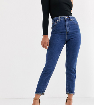 ASOS DESIGN Petite Recycled Farleigh high waisted slim mom jeans in flat blue