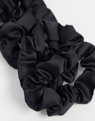 Kitsch Satin Sleep Scrunchies - Black-No color