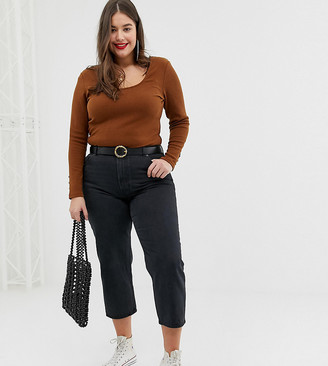 Asos DESIGN Curve scoop neck top and long sleeve with buttons