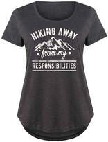 Instant Message Plus Women's Tee Shirts HEATHER - Heather Charcoal 'Hiking Away' Scoop Neck Tee - Plus
