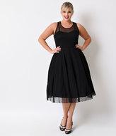 Unique Vintage Plus Size 1950s Black Heart Dot High Society Swing Dress