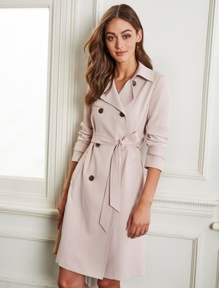 Forever New Juliana Long Textured Trench Coat - Blush Pearl - 4