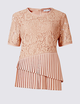 Per Una Cotton Blend Floral Lace Pleated Shell Top